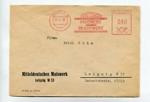 DDR Brief Absenderfreistempel Leipzig 27.9.56 Dietzold Maiswerk Drahtwerk