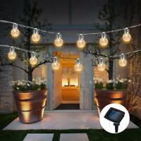 Solar Garden LED String Fairy Lights Wedding Party Festoon Ball Bulbs Lamps