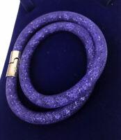 Swarovski Stardust Double Wrap Bracelet Purple Medium Ladies New No Box