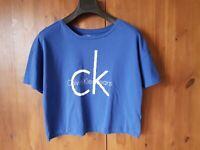 CALVIN KLIEN CROP T-SHIRT TOP Royal Blue Logo Statement Tee S / UK 10-12 - VGC