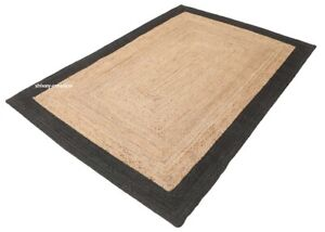 Rug 100%Natural Jute Rectangle Braided Carpet Handmade Floor Mat Reversible Rug