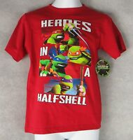 Teenage Mutant Ninja Turtles TMNT Boys T-Shirt New Heroes in a Halfshell Red