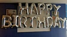 """13 x 34"""" GIANT FOIL BALLOONS HAPPY BIRTHDAY - HELIUM OR AIR FILL - SILVER"""