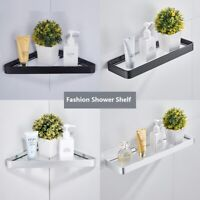 Bathroom Shower Shelf Glass Basket Wall mount Storage Rack Space aluminum New