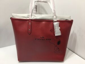 Rare Edition - Coach X Snoopy Peanuts City Zip Tote Bag - Classic Red
