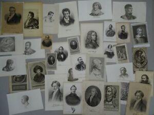 Portraits Männer Herder Heyden Adelige - 34 Graphiken Stahlstiche 17.-19. Jh.