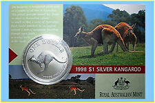 1998 $1 Kangaroo Silver Frosted Uncirculated 1 oz. Coin