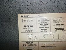 1963 Plymouth Valiant SIX Series Models 225 CI L6 Tune Up Chart