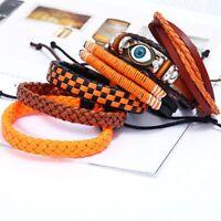 6pcs Mens Punk Leather Wrap Braided Wristband Cuff Punk Bracelet Bangle Jewelry