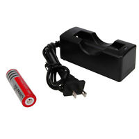 New 18650 3.7V 3000mAh Li-ion Rechargeable Battery with Charger USA Plug Cable