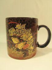 Otagiri Black Quail Birds Coffee/Tea Mug Metallic Gold Japan Wrap Design EUC