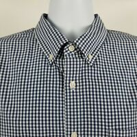 J Crew Slim Fit Mens Blue Gingham Check L/S Dress Button Shirt Sz XL
