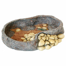 RepStyle Rock Dish Feeder 16cm Reptile Vivarium Amphibian Decor Water Bowl Tank