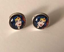Wonder Woman Glass Cabochon Silver Stud Earrings 12mm