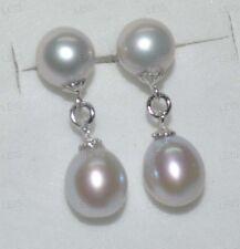 AAA 7-8mm gray freshwater pearl earring Stud&drop 925silver