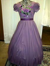 Victorian Day Gown Of Mulberry With Embroidered Applique