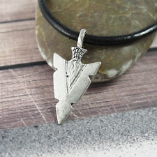 Silver Alloy Native American Arrowhead Pendant 3mm Black Leather Tribal Necklace