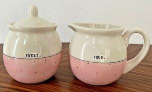 RAE DUNN POUR & SCOOP Pink White Polka Dot Sugar Milk Creamer Artisan Collection