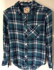Arizona Women's XS Shirt Boyfriend Fit Spruce Blue & Navy Plaid Soft Flannel