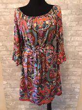 Dress Barn XL Multi Colored Stretch Knit Bellted 3/4 Sleeve BoHo Peasant Dress