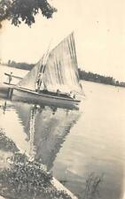 "RPPC Pier LAKE MANITOU, IN ""West Side"" Sailboat c1910s Photo Vintage Postcard"