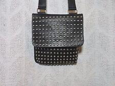 Black Leather Studded Cross Body Purse