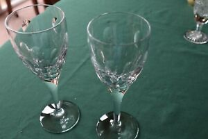 """2 John Rocha """"Imprint"""" Wine Glasses by Waterford Crystal, Signed Good Cond 21cm"""
