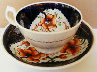 Gaudy Welsh - Richly coloured Tricorn Pattern Teacup and Saucer - c1845 - 1860