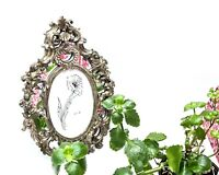 Oval Picture Frame Ornate Mirrored Design Antiqued-Silver Decor Florentine