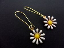 A PAIR OF ENAMEL FLOWER EARRINGS ON GOLD COLOUR KIDNEY EAR WIRES. NEW.