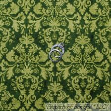 BonEful Fabric FQ Cotton Quilt VTG Green Xmas Holiday Flower Damask Toile Calico