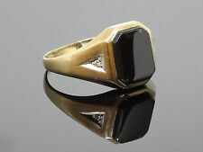 Vintage Onyx and Diamond 10K Yellow Gold Men's Ring, 2.3g, Size 10