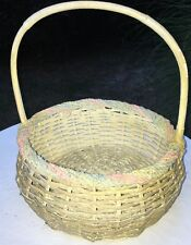 Large Vintage Wicker Basket Light Stained Flower Woven Rattan