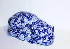 Vintage Victoria Ware Ironstone Cat, Blue and White Flower Motif Cat