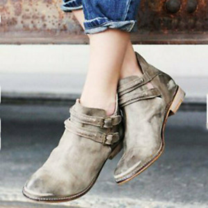 Retro Women Pointed Toe Low Heel Ankle Boots Shoes Buckle Casual Outdoor Booties
