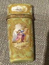 Beautiful Ornate antique 19th C Porcelain Box 24kt Gold Paint European No Resrve