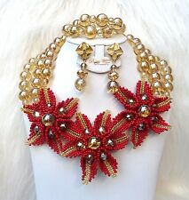 Red Gold New Latest Design African Beads Bridal Wedding Jewelry Necklace Set