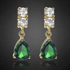 Xmas Lady Pear Cut Green Emerald 18K Yellow Gold Plated Gp Drop Stud Earring