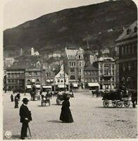 Rare! Stereoview Norway, Bergen Market 1907 w/ Horses & Wagons