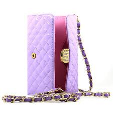 iPhone 6 Plus Note 4 Universal Diamond Flip Wallet Strap Purse Case (Purple)