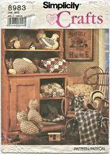 Simplicity 8983 Sewing Pattern Home Dec Animal Pillows Rabbit Pig Cat Duck Hen +