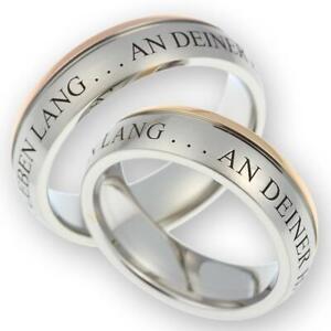 2 Eheringe Partnerringe Verlobungsringe aus Edelstahl & gratis Gravur