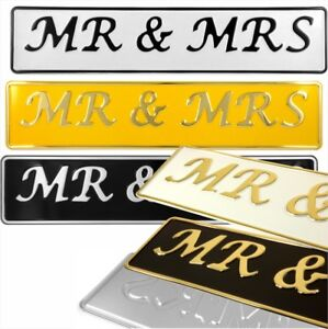 MR and MRS Novelty Wedding Car metal Pressed Number Plate white silver yellow