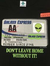 vtg Galaxy Express UFO License ALIEN EIGHT AREA 51 GLOW in DARK T-SHIRT L Black