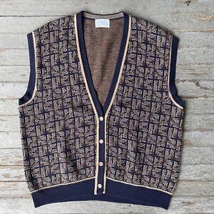 Pendleton Wool Button Up Sweater Vest Navy Blue Brown Sz 3XL Men's Usa Made Vtg