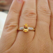 Natural Certified Imperial Topaz & White Sapphire Gold Ring