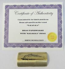 KALAKALA FERRY BRASS concave PAPERWEIGHT salvaged from boat WITH certificate