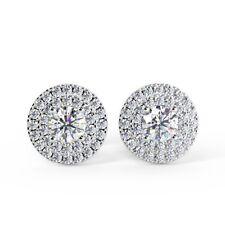 0.60 Ct Round Diamond Double Halo Stud Earring, 18k White Gold UK Hallmarked