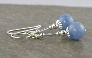 Denim Blue Aventurine Gemstone & Sterling Silver Drop Earrings + Gift Box