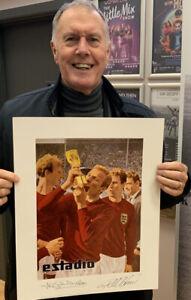 ENGLAND 1966 PHOTO SIGNED GEOFF HURST & JACK CHARLTON SUPERB COA £25